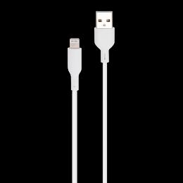 CORDON USB-A/LIGHTNING MFI M/M BLANC 2M